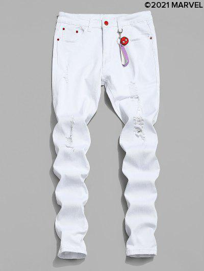 Marvel Spider-Man Ripped Jeans With Keychain - White M