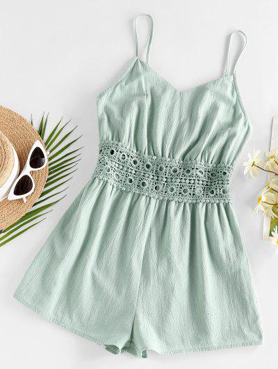 ZAFUL Cami Crochet Insert Wide Leg Romper - Green Xl