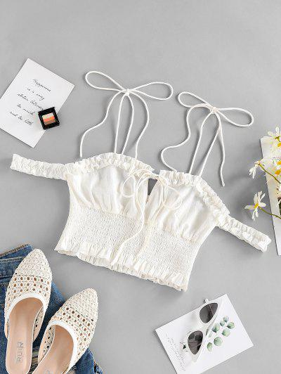 ZAFUL Smocked Tie Shoulder Frilled Ruffle Blouse - White L