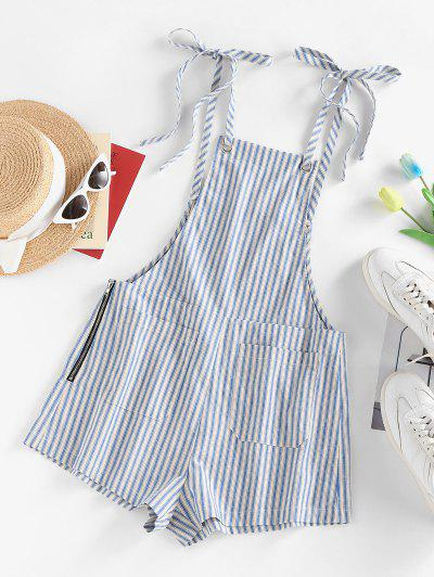 ZAFUL Striped Tie Shoulder Pocket Zip Overall Romper - Light Blue L