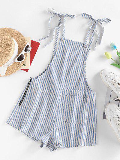ZAFUL Striped Tie Shoulder Pocket Zip Overall Romper - Light Blue S