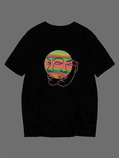 ZAFUL Reflective Face Figure Basic T-shirt - Black M