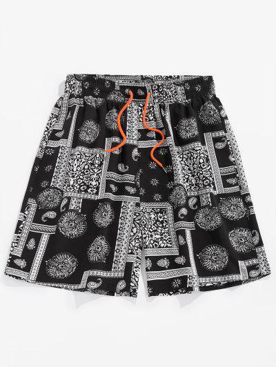 ZAFUL Paisley Patchwork Printed Beach Shorts - Black M