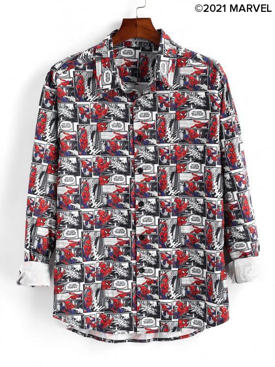 fancy Marvel Spider-Man Comics Print Button Up Shirt - RUBY RED XL
