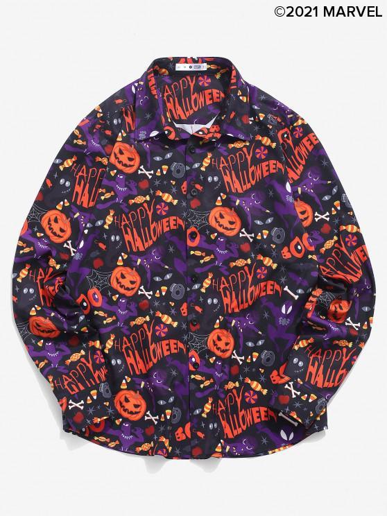 womens Marvel Spider-Man Halloween Pumpkin Print Button Up Shirt - MULTI L