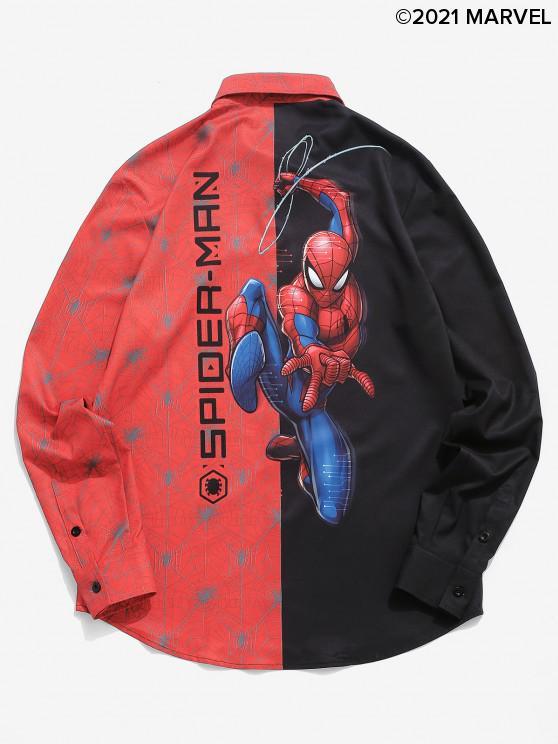 women Marvel Spider-Man Contrast Print Graphic Shirt - BLACK 2XL