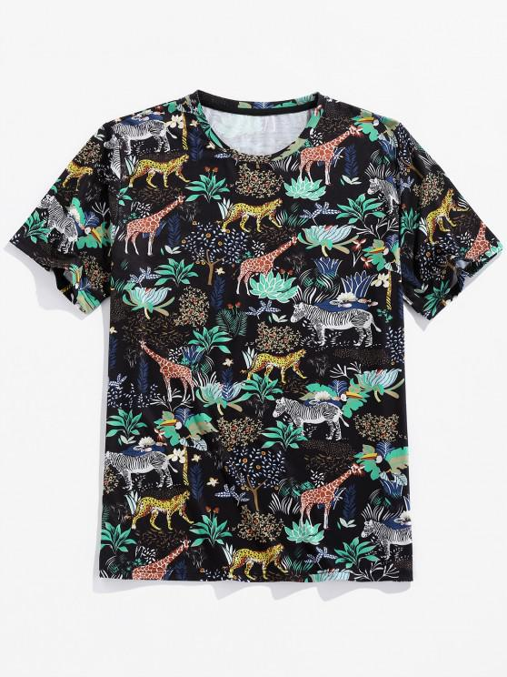 affordable ZAFUL Animals Flowers Print Short Sleeve T-shirt - BLACK L