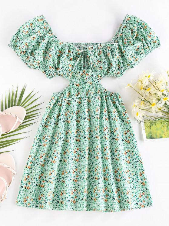fashion ZAFUL Ditsy Print Cutout Waist Puff Sleeve Dress - LIGHT GREEN L