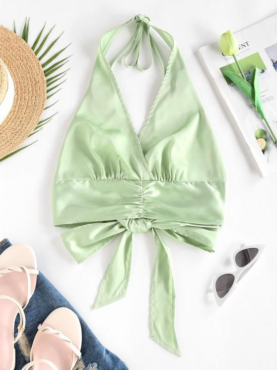womens ZAFUL Satin Ruched Halter Tie Back Bralette Top - GREEN S