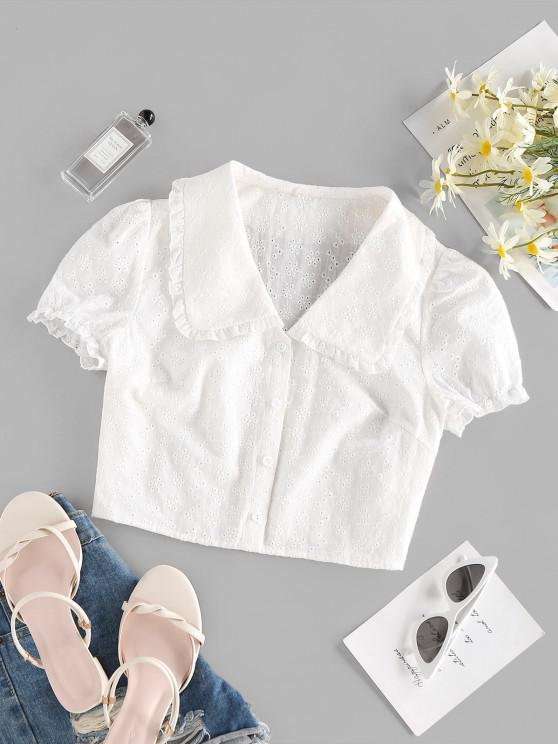 ZAFUL Broderie Anglaise Ruffle Crop Blouse - أبيض S