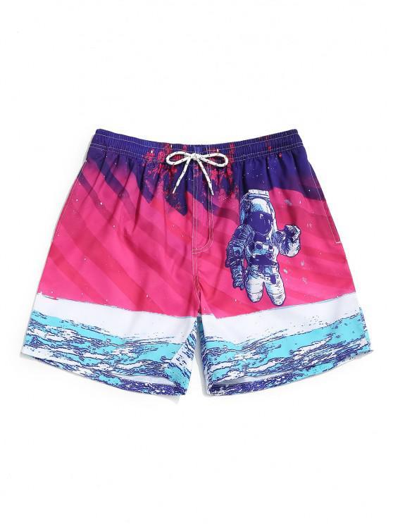 trendy Astronaut Print Pocket Drawstring Shorts Set - PLUM XXL