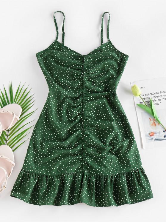 ladies ZAFUL Ditsy Polka Dot Ruched Flounce Cami Dress - DEEP GREEN M