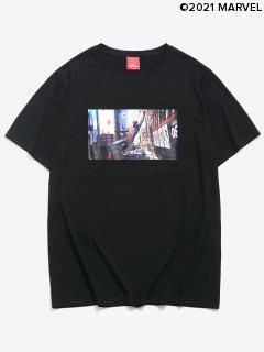 T-shirt Simple Décontracté Cube Solaires Zigzagué - Noir Xl