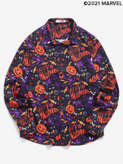Chemised'HalloweenBoutonnéeCitrouilleetMarvelSpider-ManImprimés - Multi M