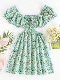ZAFUL Ditsy Print Cutout Waist Puff Sleeve Dress - Light Green S