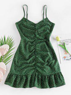 ZAFUL Ditsy Polka Dot Ruched Flounce Cami Dress - Deep Green S