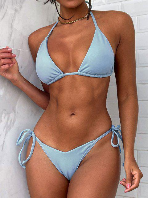 shops ZAFUL Halter Textured Convertible String Bikini Swimwear - LIGHT BLUE L Mobile