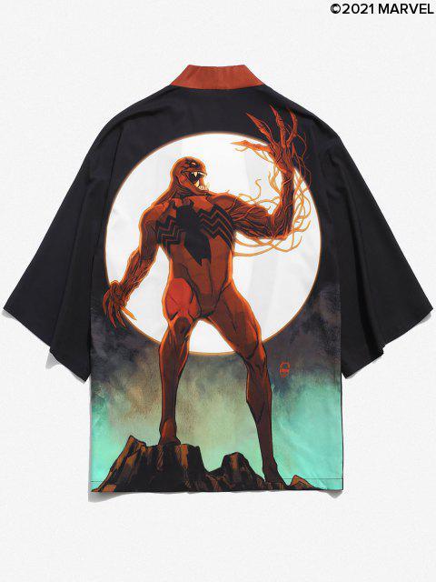 affordable Marvel Spider-Man Venom Moon Print Open Front Kimono Cardigan - BLACK L Mobile
