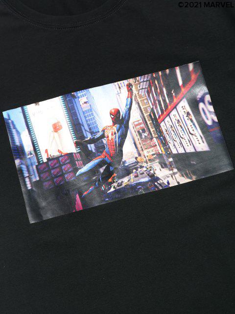 Marvel Spider-Man Fotodruck Kurzarm Lässiger T-Shirt - Schwarz S Mobile