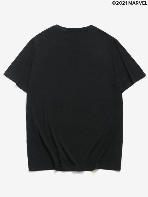 T-Shirt Casuale Asimmetrica in Tinta Unita con Motivo di Ragno e Maniche Corte - Nero L Mobile
