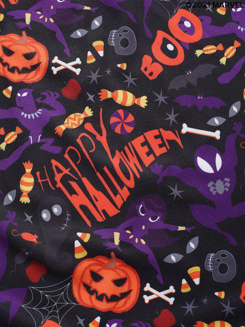 Camisa con Botón de Estampado de Calabaza de Halloween - Multicolor S Mobile