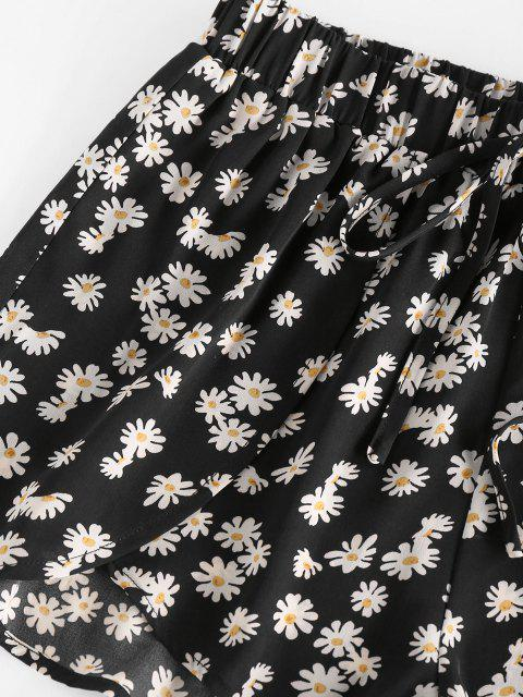 shop ZAFUL Daisy Floral Tied Tulip Shorts - BLACK XL Mobile