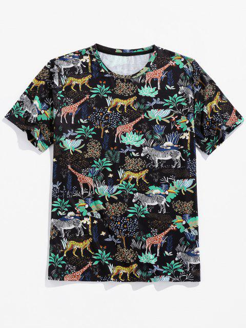 lady ZAFUL Animals Flowers Print Short Sleeve T-shirt - BLACK S Mobile