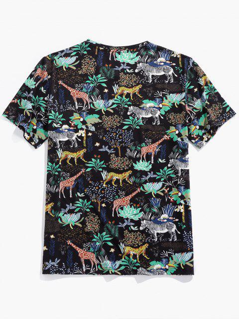 shop ZAFUL Animals Flowers Print Short Sleeve T-shirt - BLACK M Mobile