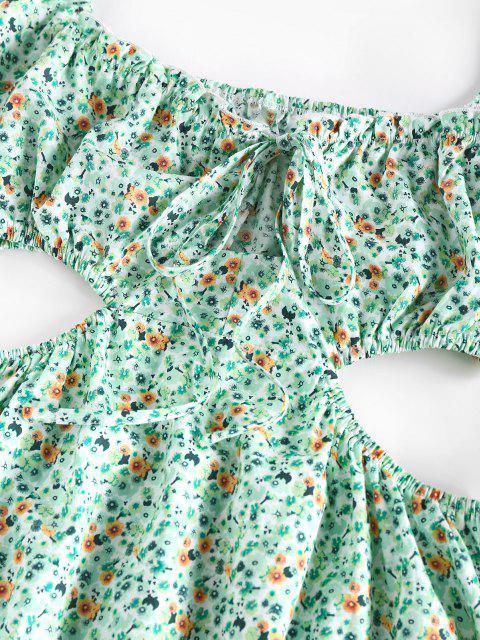 fancy ZAFUL Ditsy Print Cutout Waist Puff Sleeve Dress - LIGHT GREEN S Mobile