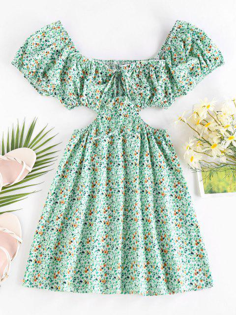 fashion ZAFUL Ditsy Print Cutout Waist Puff Sleeve Dress - LIGHT GREEN L Mobile