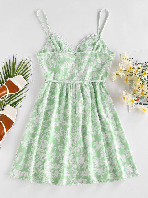 ZAFUL Robe Plissée Fleur Ceinturée à Volants - Vert clair XL Mobile