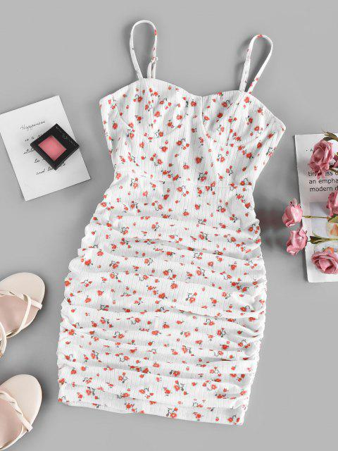 ZAFUL Bodycon Geripptes Kleid mit Blumenrüschen - Weiß XL Mobile
