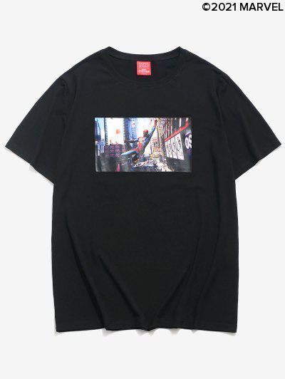 Marvel Spider-Man Photographic Print Short Sleeve Casual T-shirt - Black 2xl