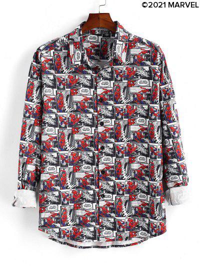 Camicia Floreale Con Bottoni - Rosso Rubino S
