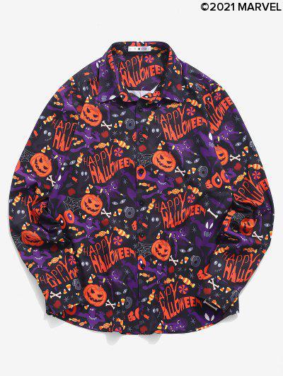 Marvel Spider-Man Halloween Pumpkin Print Button Up Shirt - Multi M