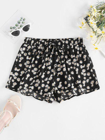 ZAFUL Daisy Floral Tied Tulip Shorts - Black Xl