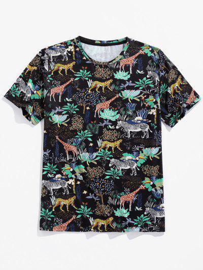 ZAFUL T-shirt Fleur Animal Imprimé à Manches Courtes - Noir M