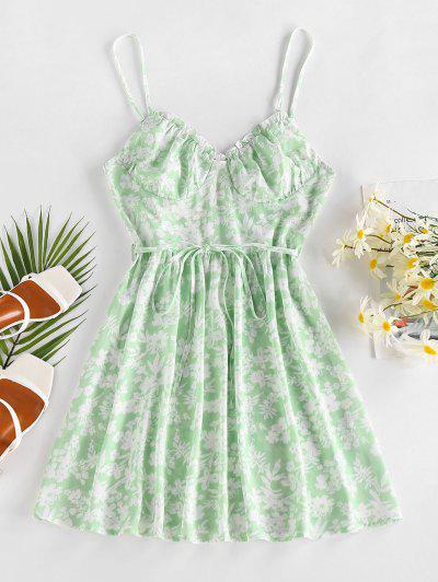 ZAFUL Flower Ruffle Belted Cupped Dress - Light Green S