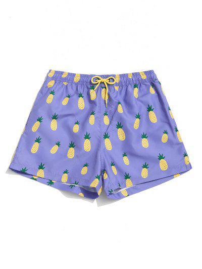 Pantaloncini Da Spiaggia Con Tasca E Stampa A Ananas E Coulisse - Mauve S