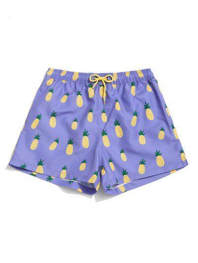 Pineapple Print Drawstring Pocket Board Shorts - Mauve L