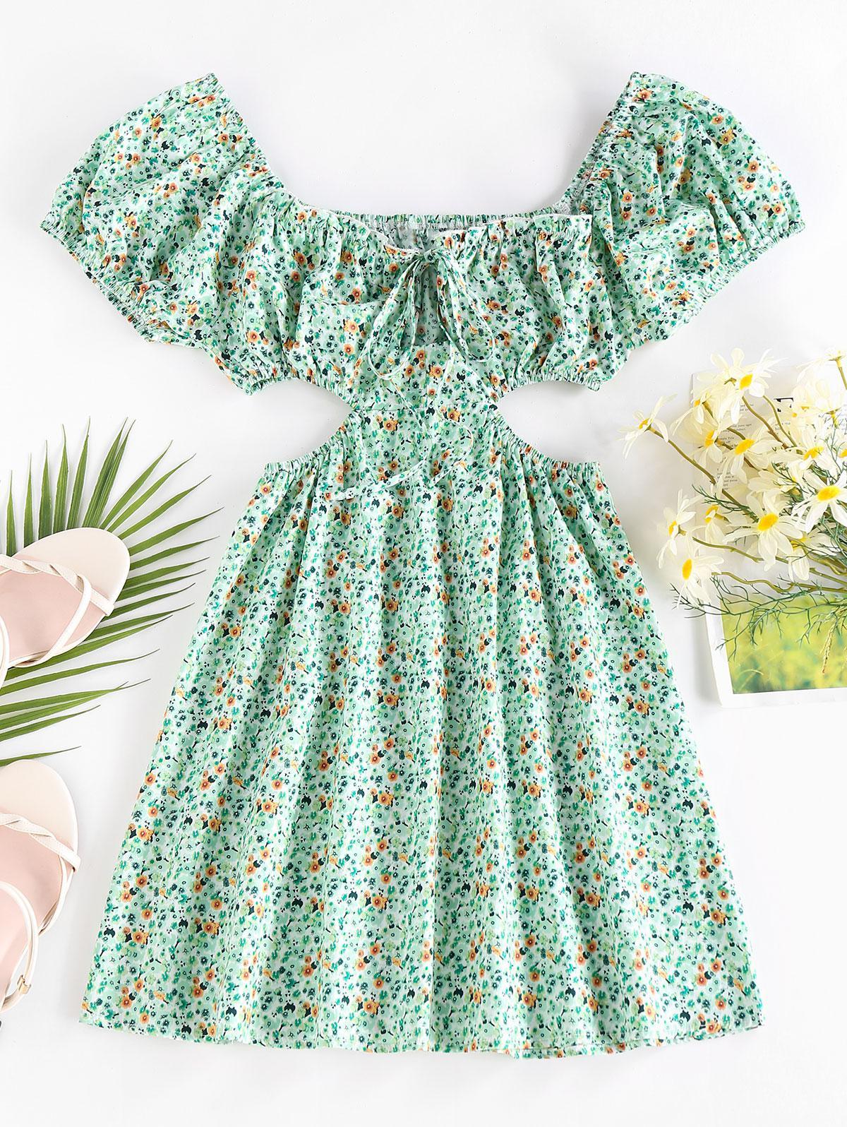 ZAFUL Ditsy Print Cutout Waist Puff Sleeve Dress
