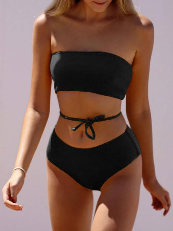 ZAFUL Bikini Badebekleidung mit Gerippter Schnürung und Bandeaumuster - Schwarz L