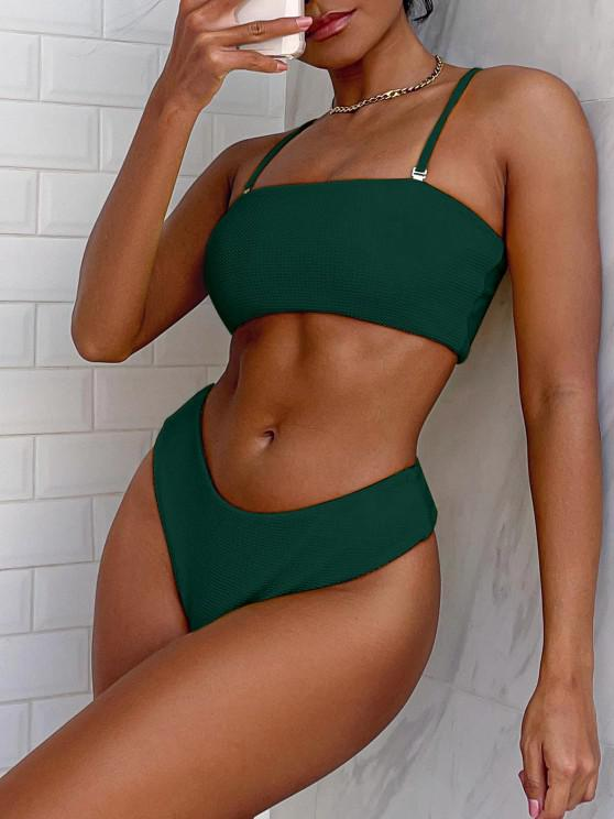 shop ZAFUL Textured Bandeau Bikini Set - MEDIUM SEA GREEN M