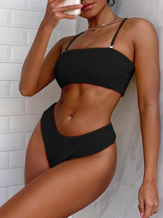 ZAFUL Bikini Bandeau con Textura - Negro S