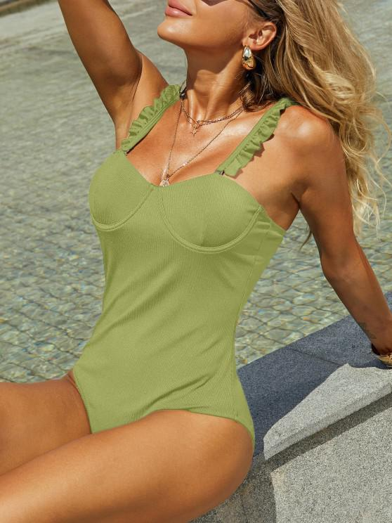 ZAFUL Underwire الخس تريم مضلع من قطعة واحدة ملابس السباحة - اخضر فاتح M