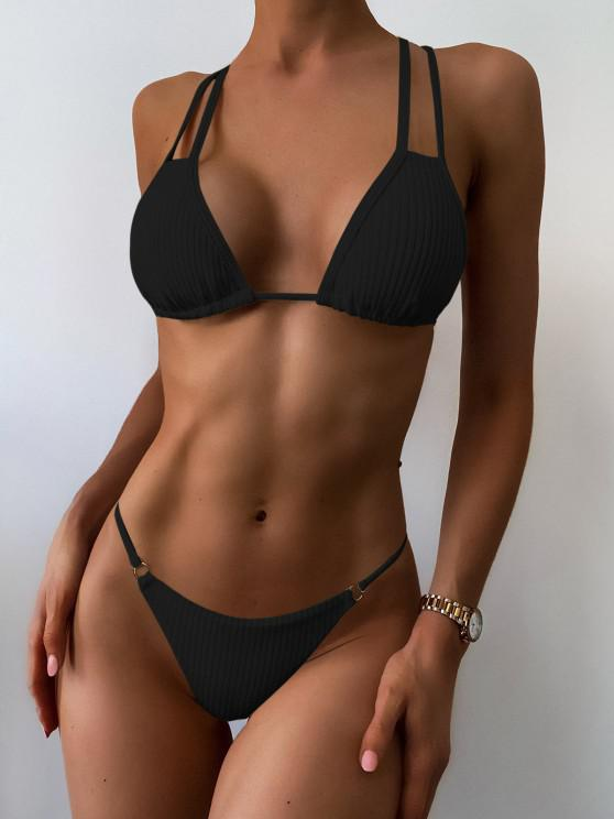 new ZAFUL Rib-knit Crisscross Back String Bikini Swimwear - BLACK S