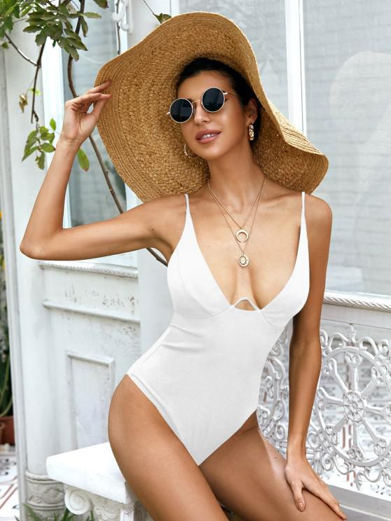 online ZAFUL Underwire Ribbed High Cut Knot Swimsuit - WHITE S