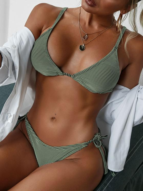 new ZAFUL Textured Ribbed Tie Tanga String Bikini Swimwear - DEEP GREEN M