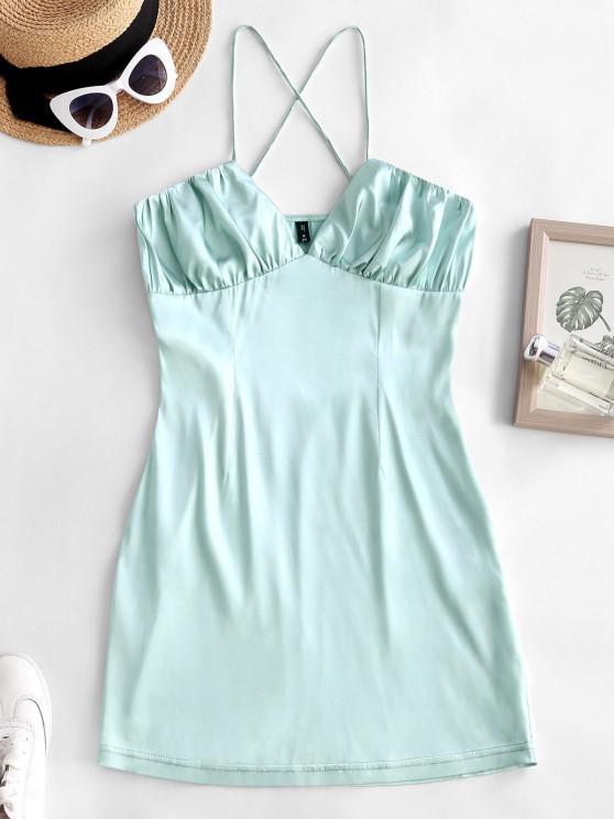 women Criss Cross Ruched Satin Mini Dress - LIGHT GREEN S