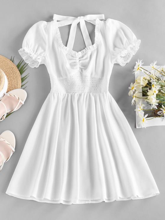 women's ZAFUL Smocked Open Back Puff Sleeve Ruched Dress - WHITE M
